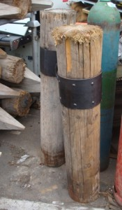 Wooden Posts with Steel Band